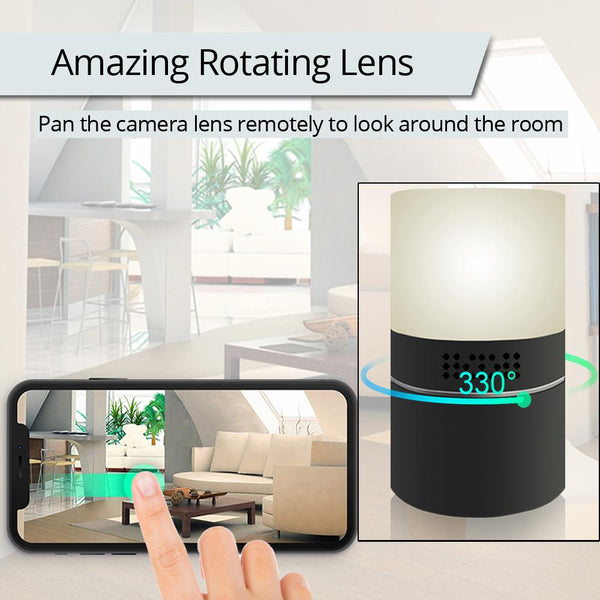 WiFi LED Lamp Surveillance Camera Desk Table IR Night Vision Motion Activated Security Live View & Audio