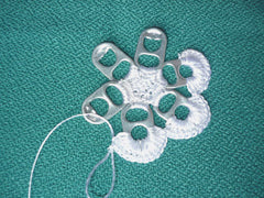 "alt=""crochet flower with pop tabs"""