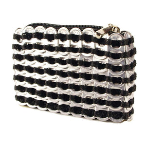 "alt=""black and silver coin purse from recycled materials by Escama Studio"""