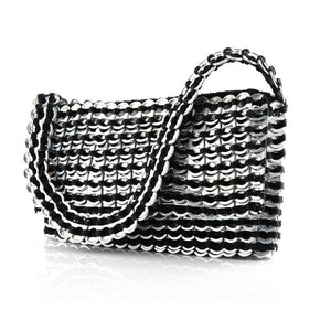 "alt=""black evening bag striped with silver soda pop tabs, Francisca evening bag by Escama Studio"""