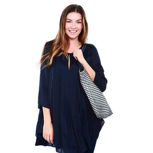 "alt=""black and silver striped tote bag with black leather straps, Luci zipper tote bag by Escama Studio"""
