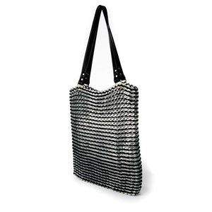 "alt=""black tote bag with white strips and black leather straps, Luci ring pull bag by Escama Studio"""