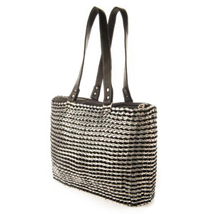 "alt=""black and white striped tote with black leather straps, Kate bag by Escama Studio"""
