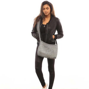 "alt=""black crossbody bag worn by girl in black leather jacket, Socorro XL crossbody recycled purse by Escama Studio"""