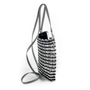 "alt=""black and silver crossbody phon bag made of soda tabs, by Escama Studio"""