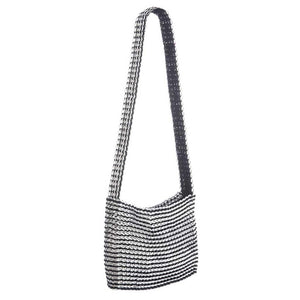 "alt=""black and white striped crossbody bag, Socorro XL crossbody bag by Escama Studio"""