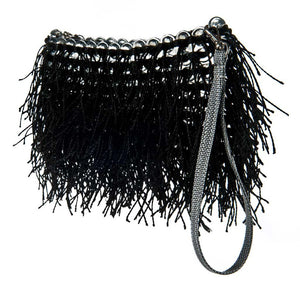 "alt=""black fringe purse Shaggy clutch by Escama Studio"""