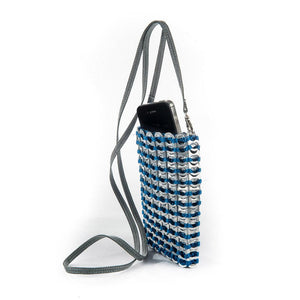 "alt=""blue crossbody iPhone bag made of pop tabs by Escama Studio"""