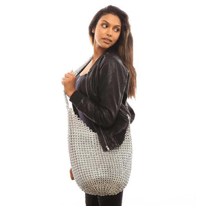 "alt=""boho crossbody bag silver Laura hobo bag by Escama Studio"""