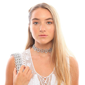 "alt=""cute choker necklace worn by girl in white lace top, eco fashion by Escama Studio"""