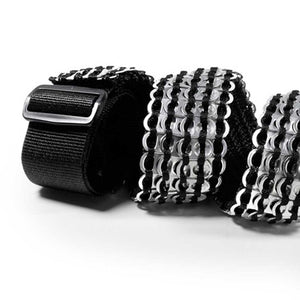 "alt=""cool guitar strap in black and silver made from beer can tabs"""