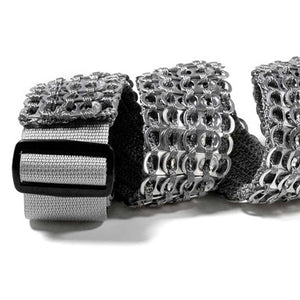"alt=""cool guitar strap silver color made of beer can tabs"""