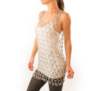"alt=""fishnet cover up embellished with soda tabs - Escama Studio"""