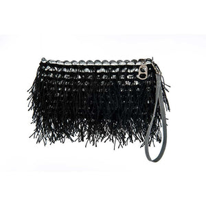 "alt=""fringe purse black shaggy clutch by Escama Studio"""