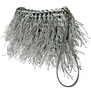 "alt=""silver fringe purse Shaggy clutch bag by Escama Studio"""