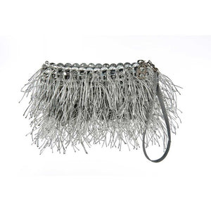 "alt=""fringe purse silver Shaggy clutch by Escama Studio"""