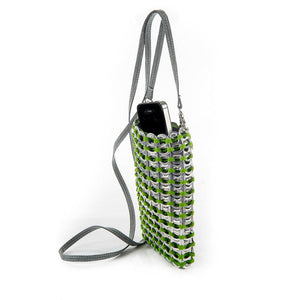 "alt=""green crossbody iPhone bag made of ring pulls by Escama Studio"""