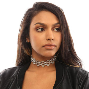 "alt=""ladies choker necklace worn by girl in black leather jacket, eco fashion by Escama Studio"""
