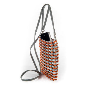 "alt=""orange crossbody cell phone bag from recycled materials by Escama Studio"""