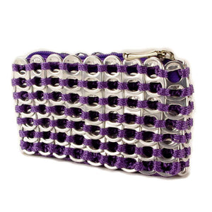"alt=""purple coin pouch made of soda pop tabs by escama studio"""