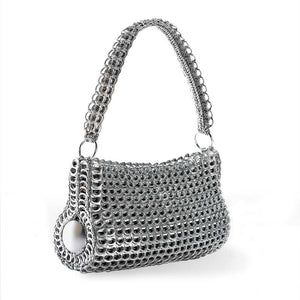 "alt=""silver shoulder bag cylinder purse, Danubia pop tab purse by Escama Studio"""