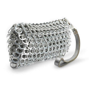 "alt=""silver clutch purse made of recycled material, Puff silver wristlet by Escama Studio"""