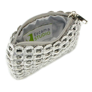 "alt=""silver coin pouch with zipper and fabric liner by Escama Studio"""