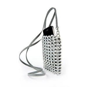 "alt=""silver crossbody phone bag made of pop tabs by Escama Studio"""