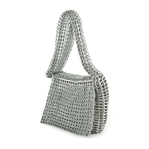 "alt=""silver crossbody purse with flap Masha - Escama Studio"""
