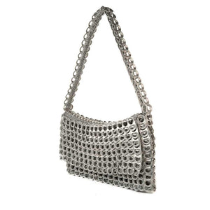 "alt=""silver evening bag with shoulder strap and fold over flap, Francisca purse by Escama Studio"""