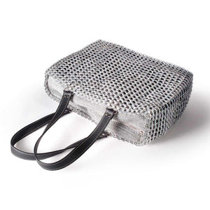 "alt=""silver metallic woven tote made of recycled materials by Escama Studio"""