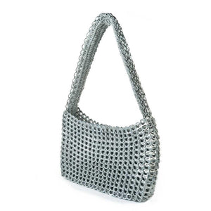 "alt=""silver purse Socorro pop top bag sustainable fashion by Escama Studio"""