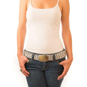 "alt=""silver studded belt for women made of recycled pop tabs, Mack belt by Escama Studio"""