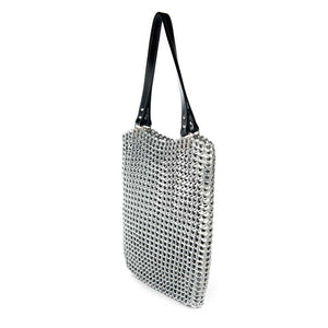 "alt=""woven tote bag silver color with zipper top and black leather shoulder straps, Luci ring pull bag Escama Studio"""