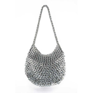 "alt=""metallic silver woven handbag Greta, sustainable fashion by Escama Studio"""