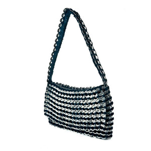 "alt=""evening bag teal color with silver stripes with shoulder strap and fold over flap, Francisca by Escama Studio"""