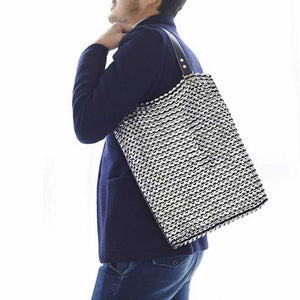 "alt=""black and silver zipper tote laptop bag, Luci zipper tote bag by Escama Studio"""