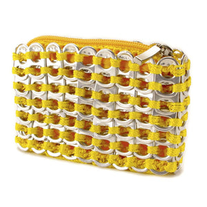 "alt=""yellow coin purse made of pull tabs by escama studio"""