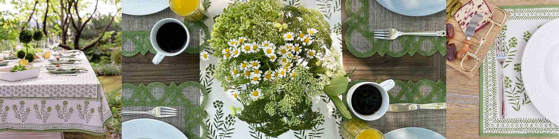 Autumn Green and white placemats napkins and tablecloths for your perfect table setting