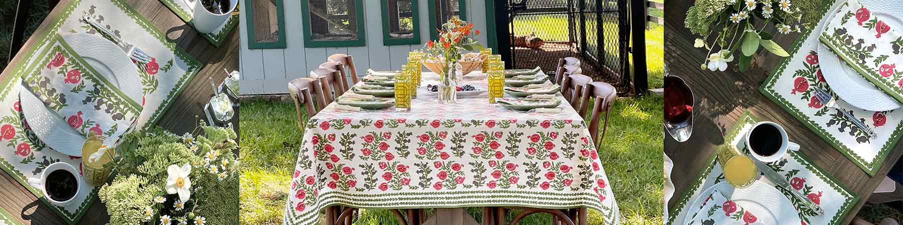 Fern Green and poppy pomegranates tablecloth in front of the chicken coop