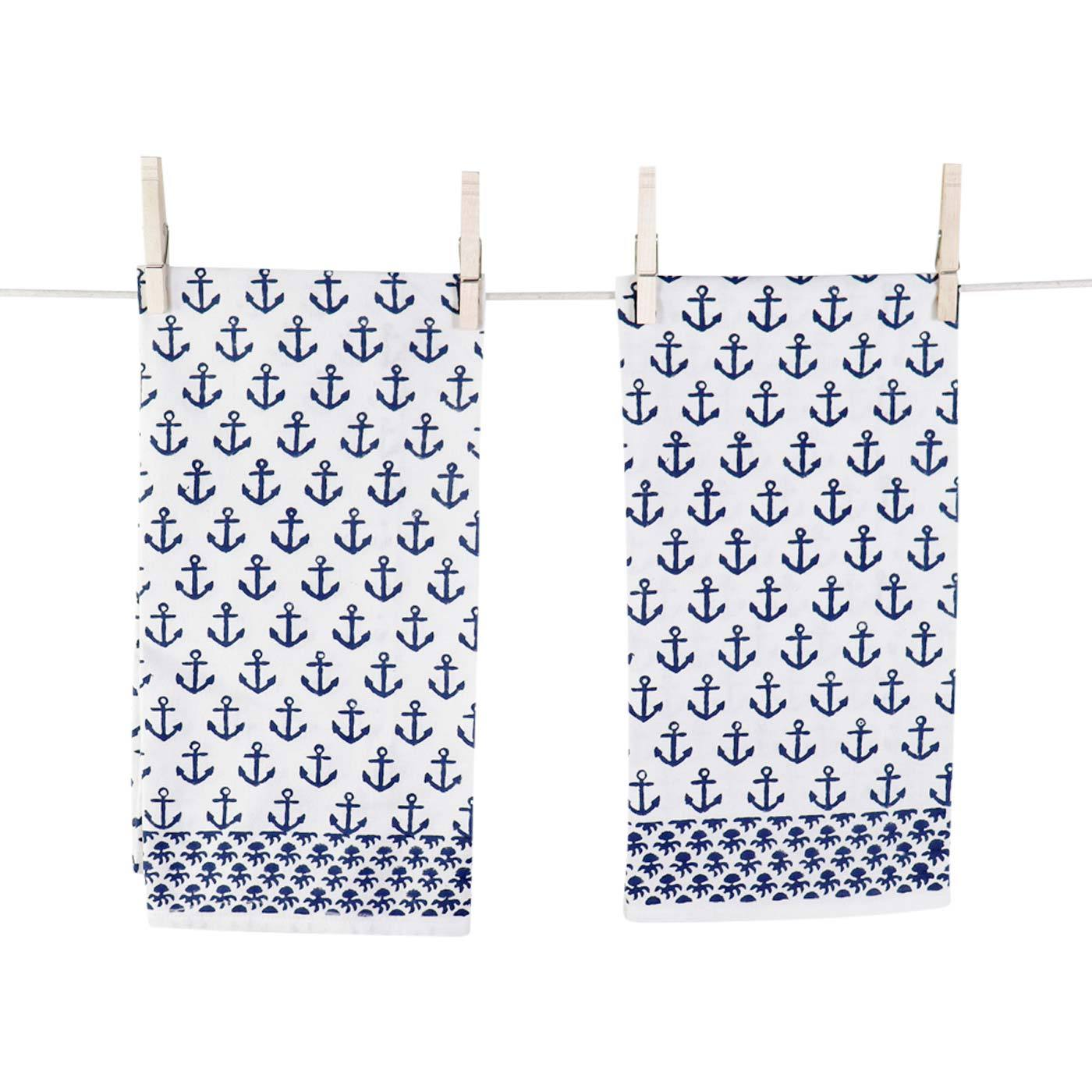 Navy blue hand blocked anchor print tea towels