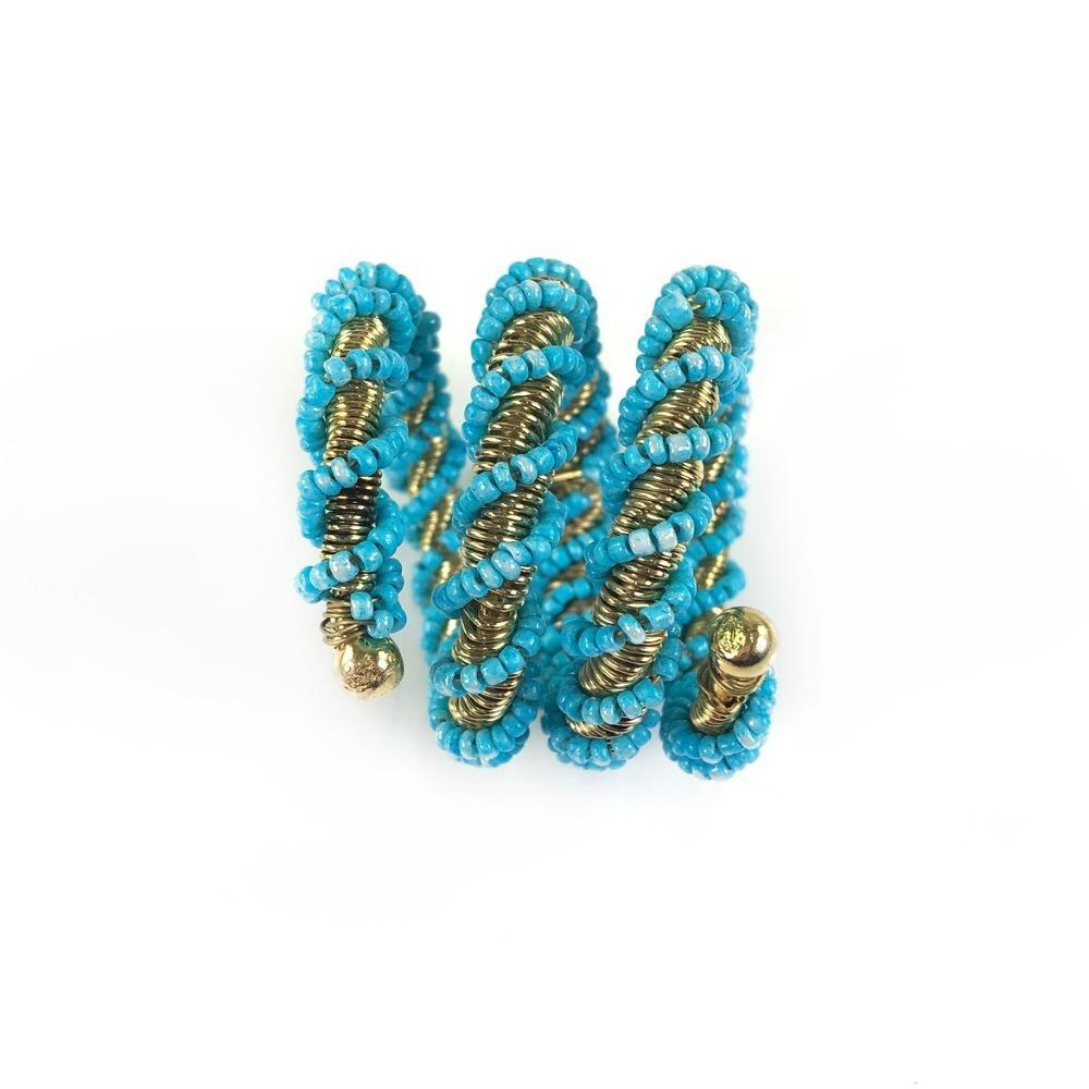Blue Wrapped Beaded Napkin Ring | Set of 4