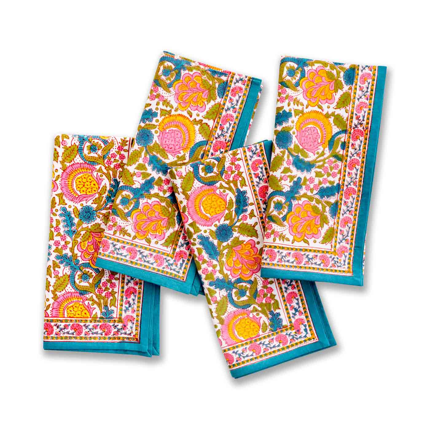 Jewel Blossom Table Napkins- Set 4. Spring Collection- Kitchen & Table