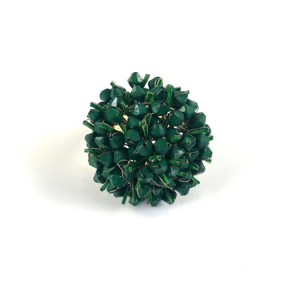 Dark Green Cluster Beaded Napkin Ring | Set of 4
