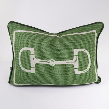 Green Snaffle Lumbar Pillow Cover