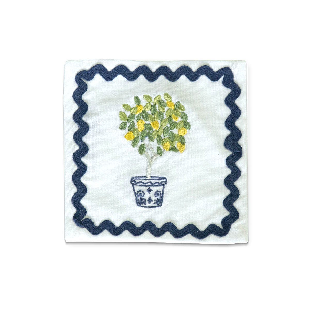 Lemon Topiary Embroidered Cocktail Napkin | Set of 6