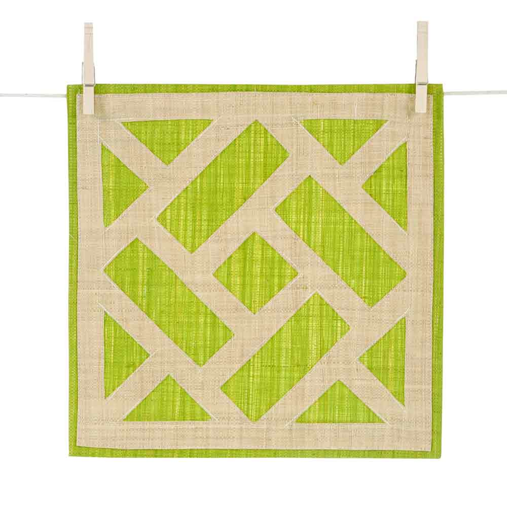 Lime Green Trellis Raffia Placemats | Set of 4