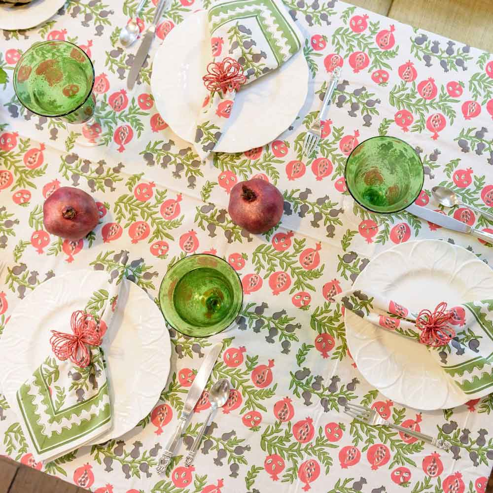 Pom Bells Fern & Poppy Tablecloth
