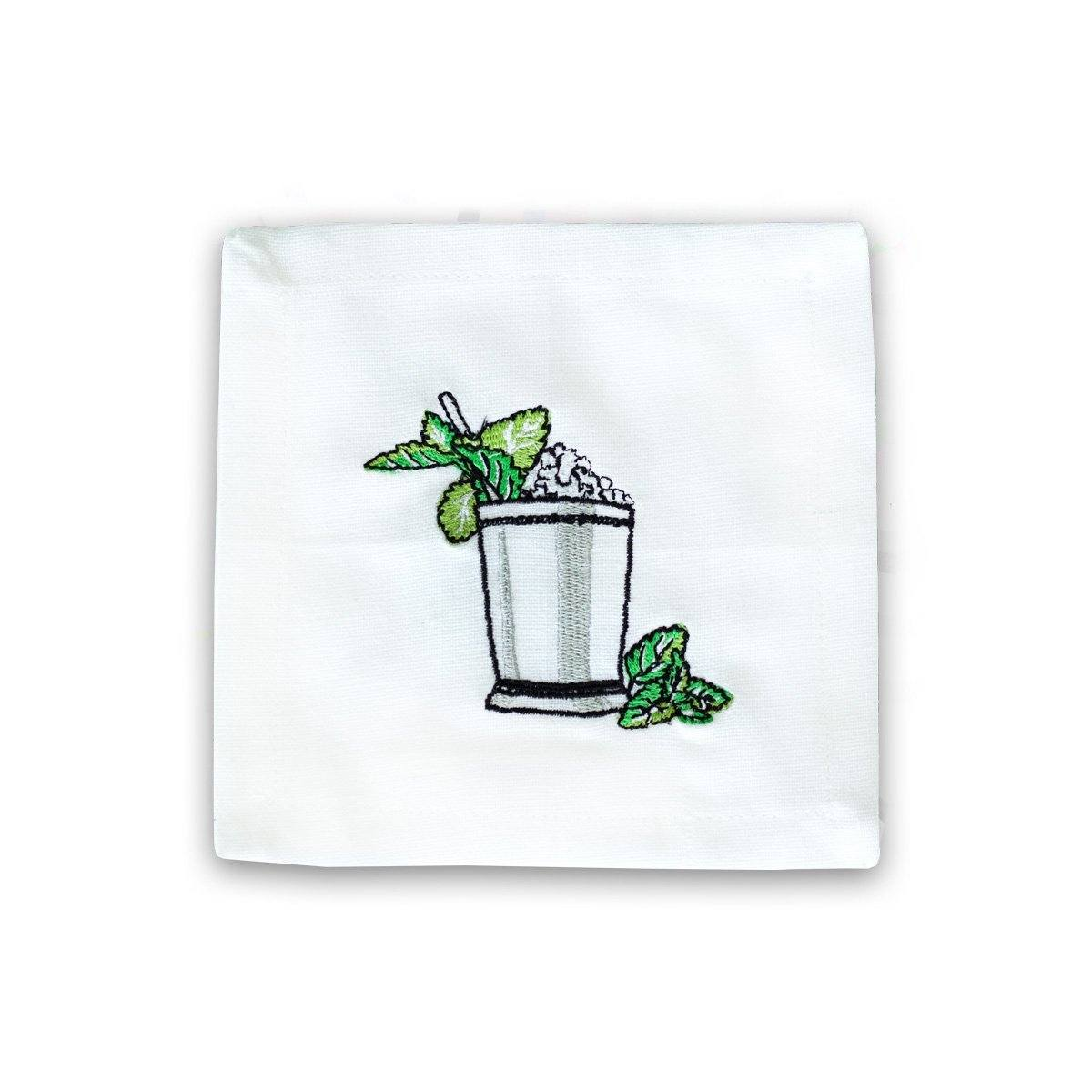 Mint Julep Embroidered Cocktail Napkin Set of 6
