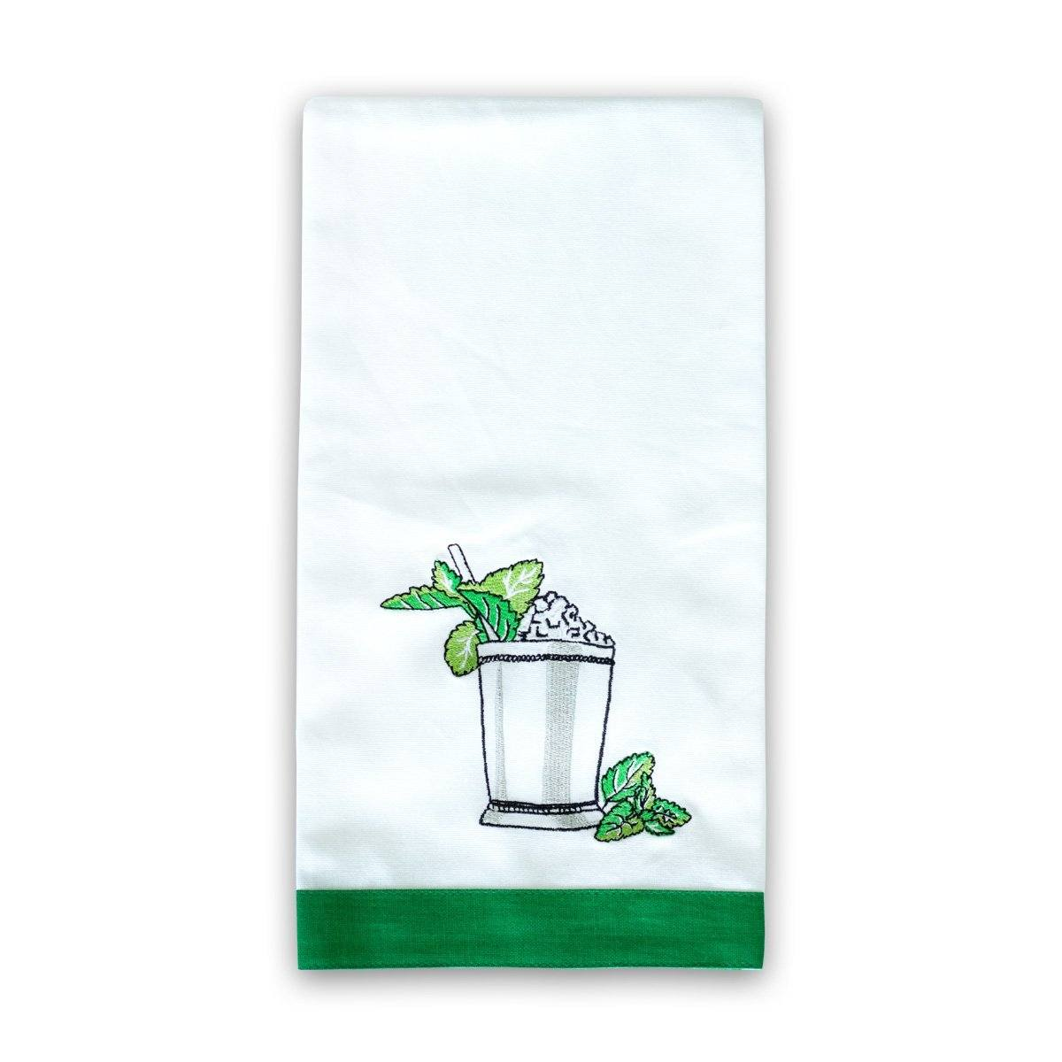 Mint Julep Embroidered Hand Towel Set of 2